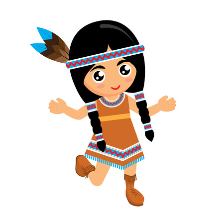 regalia: Girl American Indians dancing on white background. Vector illustration. Illustration