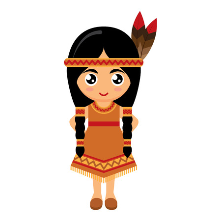 hat with feather: Little Girl Wearing American Indians Dress. Vector illustration.