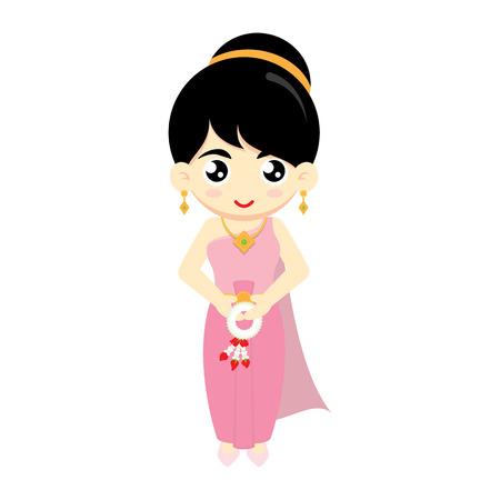 national: Chica tailandesa linda con un vestido tradicional sobre fondo blanco. Y mantener guirnalda tailandesa. Ilustración del vector.
