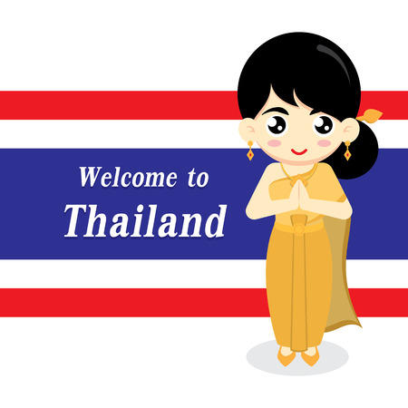 Cute Thai girl wearing traditional dress on Thai flag background. Vector illustration.