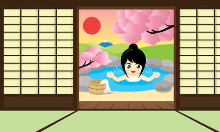 Cheerful girl enjoy Japanese Hot Springs and views of Mount Fuji. Vector illustration. Ilustrace