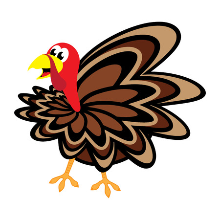 turkey: Cartoon Thanksgiving turkey on white background. Vector illustration. Illustration