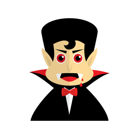 Vampire or Dracula on white background. Vector illustration.