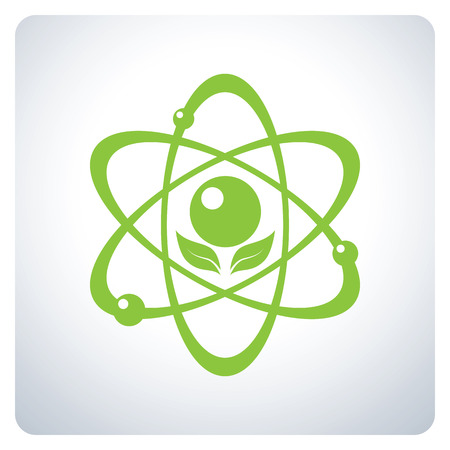 Green Atom. Science nature. Environmental Protection. Icon symbol design. Vector illustration. Ilustrace