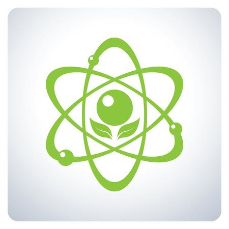 environmental science: Green Atom. Science nature. Environmental Protection. Icon symbol design. Vector illustration. Illustration