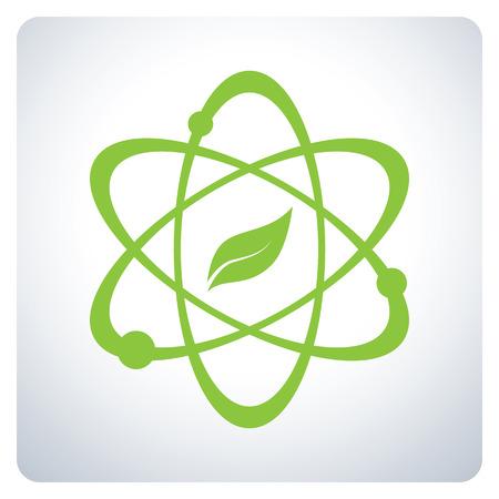 Atom con la naturaleza de la Ciencia. Protección del medio ambiente. Diseño del símbolo del icono. Ilustración del vector.