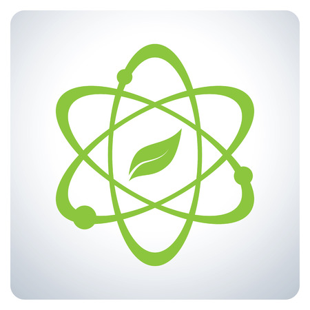 educacion ambiental: Atom con la naturaleza de la Ciencia. Protección del medio ambiente. Diseño del símbolo del icono. Ilustración del vector.