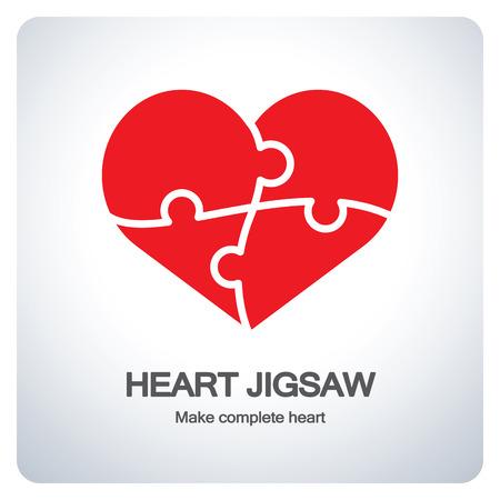 Objeto del corazón hecha de piezas de un rompecabezas. Hacer cardíaco completo. Diseño del símbolo del icono. Ilustración del vector. Ilustración de vector