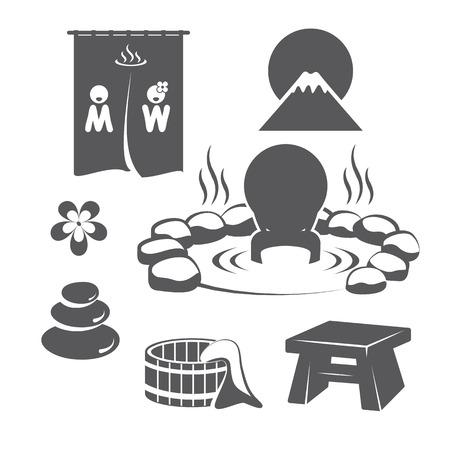 hot asian: Хот-Спрингс набор. Значки дизайн символа. Векторная иллюстрация. Иллюстрация