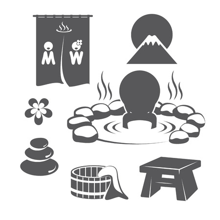 ryokan: Hot Springs Set. Icons symbol design. Vector illustration.