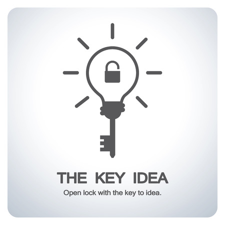 Key bulb to new idea. Open lock with the key to idea. Icon symbol design. Vector illustration. Ilustrace