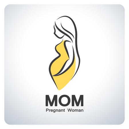 vientre femenino: Mamá, símbolo de las mujeres embarazadas. Diseño del símbolo del icono. Ilustración del vector.
