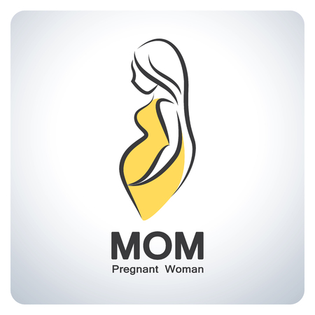 mom: Mom, Pregnant women symbol. Icon symbol design. Vector illustration. Illustration