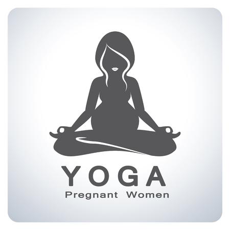simbolo de la mujer: Mamá. Yoga para el símbolo de las mujeres embarazadas. Diseño del símbolo del icono. Ilustración del vector. Vectores
