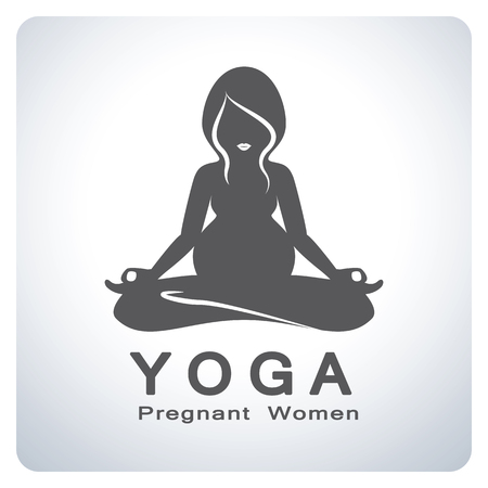 pregnancy yoga: Mom. Yoga for pregnant women symbol. Icon symbol design. Vector illustration.
