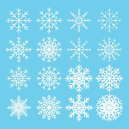simbolo: collezione di icone del fiocco di neve su sfondo blu. il design Icona simbolo. Illustrazione vettoriale. Vettoriali