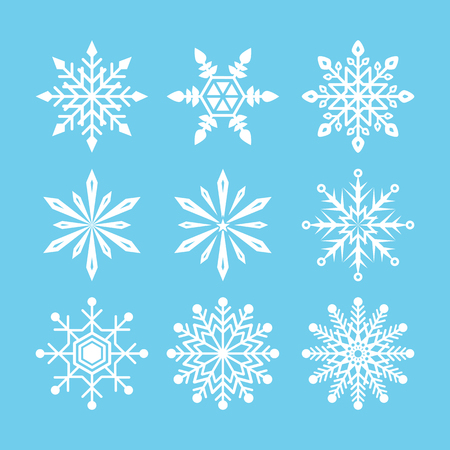 Snowflake icon collection on blue background. Icon symbol design. Vector illustration.