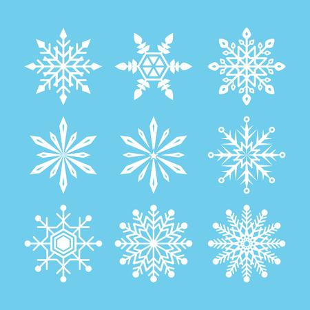schneeflocke: Snowflake Icon-Sammlung auf blauem Hintergrund. Symbol Symbolentwurf. Vektor-Illustration.