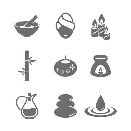 vasos de agua: Spa Icon Set. Diseño de símbolos. Ilustración del vector. Vectores