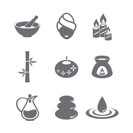 stones in water: Spa Icon Set. Symbol design. Vector illustration.
