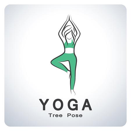 Yoga tree pose. Icon symbol design. Vector illustration.
