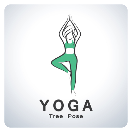 flexible sexy: Yoga tree pose. Icon symbol design. Vector illustration.