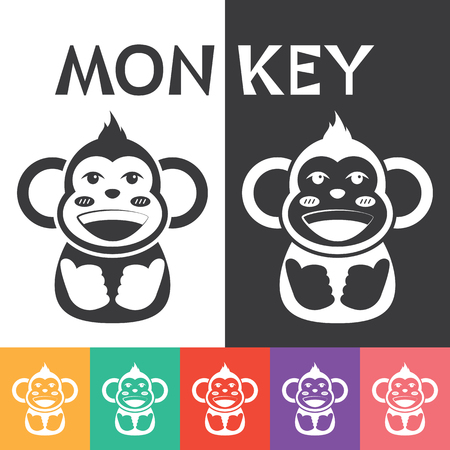 Monkey smile Icon Symbol. Vector illustration. Can use of banner, brochure, flyer, greeting card. Ilustrace