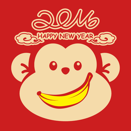 Monkey New Year Card. Happy New Year 2016. Vector illustration. Can use of banner, brochure, flyer, greeting card. Ilustrace