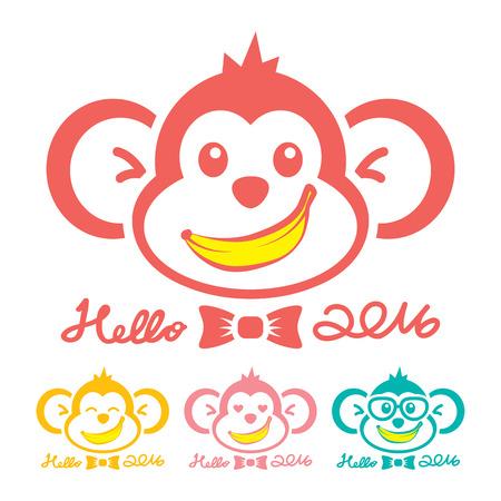 platano caricatura: S�mbolo del icono del mono A�o Nuevo. Hola 2016. Ilustraci�n vectorial. Se puede usar de la bandera, folleto, folleto, tarjeta de felicitaci�n.
