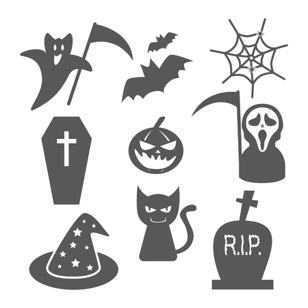 Halloween icon set on white background. Vector illustration. Can use of banner, brochure, flyer, greeting card. Ilustrace