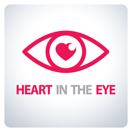 Heart in the eye symbol icon. Vector, illustration.