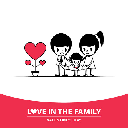 Happy valentines day: Love is the warmth of the family. Love in the family.