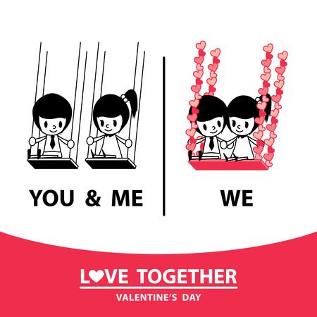 Love together. Hold hands together. Иллюстрация