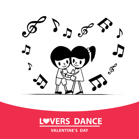 Dancing couple. The handsome man dancing with a woman. Vector image. Couple dancing