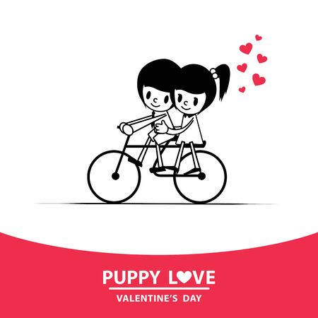 Romance, young man riding a bicycle with his girlfriend sitting pillion.