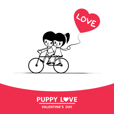 valentine heart: Romantic, young man riding a bicycle ride pillion girlfriend holding heart shaped balloons. Illustration