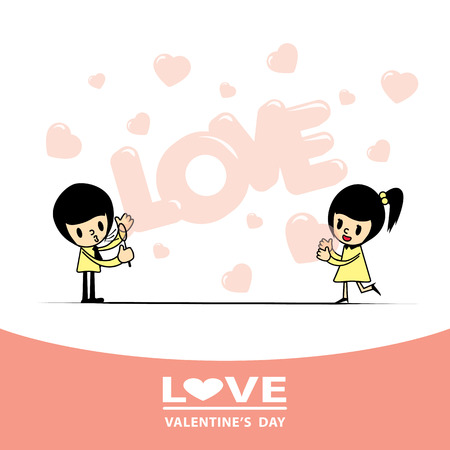boyfriend blowing the word love in a soap bubble and heart-shaped soap bubbles give to his girlfriend. Ilustrace