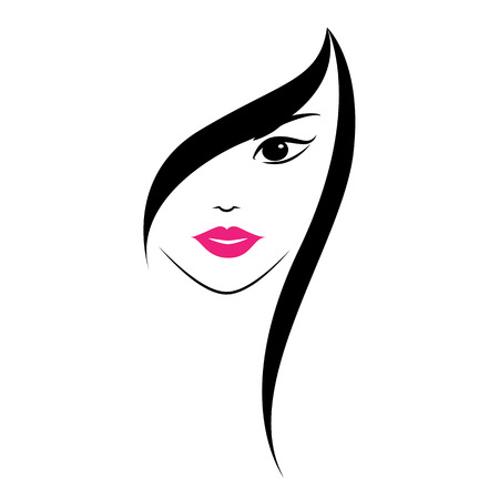 hair style: Beautiful womans face on white background.