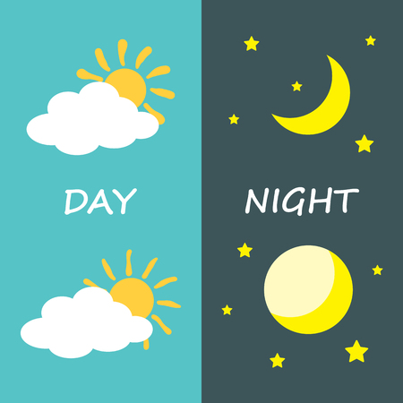 morning: Day and night, sun and moon. Icon symbol design. Vector illustration.