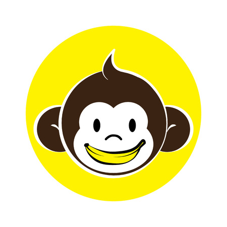 Cute monkey with a banana smile,