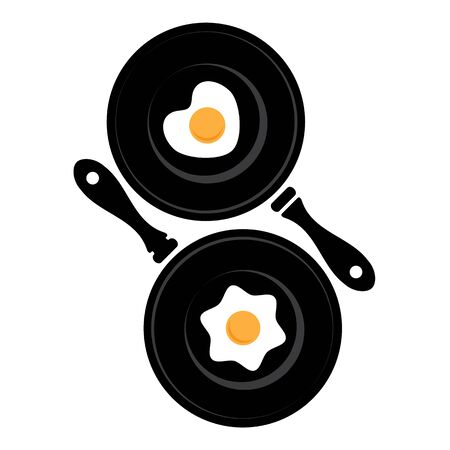 skillet: Fried egg in a shape of the heart on the pan. And traditional fried egg.