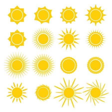 sol radiante: Sun Iconos de la colección en el fondo blanco. Diseño del símbolo del icono. Ilustración del vector. Vectores