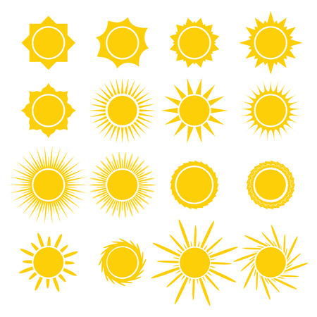 sunny season: Sun icons collection on white background. Icon symbol design. Vector illustration.