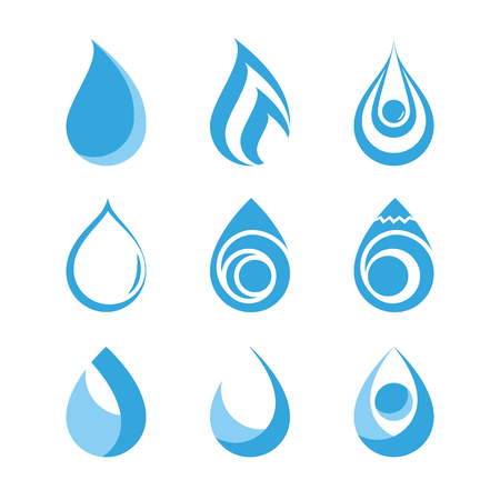 Water drops icons collection on white background. Icon symbol design. Vector illustration.