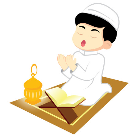 Happy Ramadan. Little Boy Muslim praying on carpet. Reading Namaj, Islamic Prayer from the lighting of the a lamp. Vector illustration. Illustration