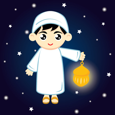 Happy Ramadan. Little Boy Muslim Hold lamp on blue background at night. Vector illustration.