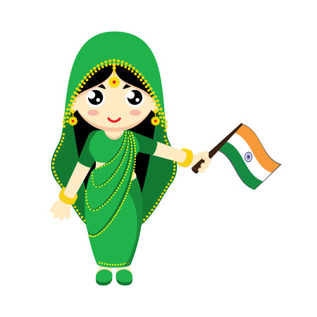 saree: Little Girl Wearing Traditional Dress and Holding India flag. Vector illustration.