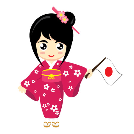 nationalities: Little Girl Wearing Traditional Dress and Holding Japan flag. Vector illustration.