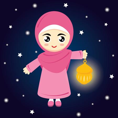 headscarf: Happy Ramadan. Little Girl Muslim Hold lamp on blue background at night. Vector illustration.