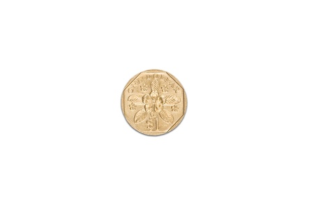 Singapore dollar coin isolated over white background